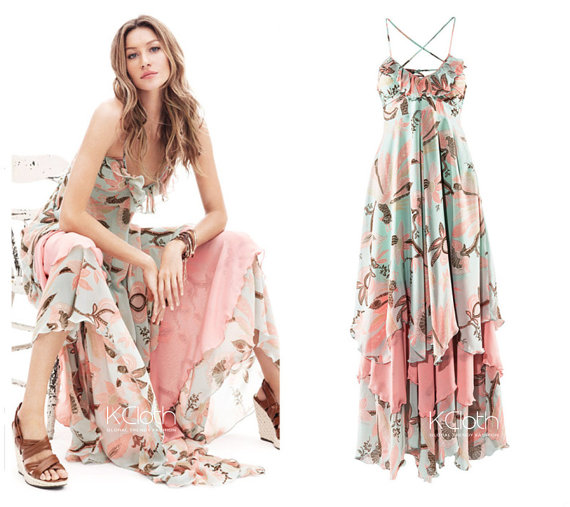 Maxi Dress With Ruffle Floral Printed D1337 Halter Dress Party Dress